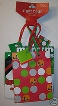"Christmas NEW 12 Holiday Gift Bags 5.5"" tall x 4.25"" w - $12.38"