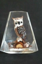 Vintage Lucite Paperweight OWL on LOG Eames Retro - $9.99
