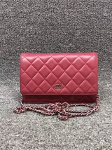 100% AUTH CHANEL WOC Quilted Lambskin Red Wallet on Chain Flap Bag SHW