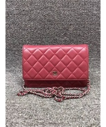 100% AUTH CHANEL WOC Quilted Lambskin Red Wallet on Chain Flap Bag SHW - $2,050.00