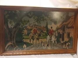 "Vintage Equestrian Fox Hunt Needlepoint complete framed 18x30"" English H... - $89.10"