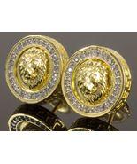 14K Yellow Gold Fn Lion-Head-Face-Stud-Earrings-Simulated-Diamond - $75.00