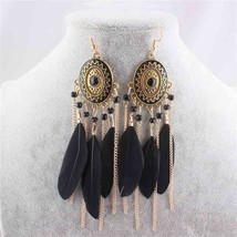 LUBINGSHINE 2017 European and American Tassel earrings Feather Leaf Drop... - $7.56