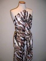4yd BOLD CHIC ANIMAL PRINT CRINKLE GEORGETTE SHEER CHIFFON OFF WHITE BRO... - $48.00
