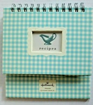 Vintage Hallmark Blue Checkered Stand Up Recipe Book New with Recipe Car... - $29.99