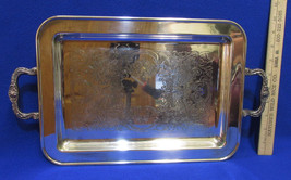 Vintage Silverplate Serving Tray Platter w/ Handles Footed Scroll Ornate... - $36.62