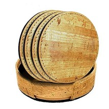Set of 4 - Fancy Drink Coasters - Natural Cork-Style Pattern, Thermo PU ... - $10.64