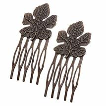 10 Pcs Retro Bronze Mini Metal Side Comb Maple Leaf Decorative Hairpin Wedding V