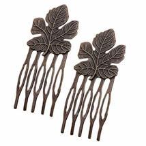 10 Pcs Retro Bronze Mini Metal Side Comb Maple Leaf Decorative Hairpin Wedding V
