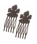 10 Pcs Retro Bronze Mini Metal Side Comb Maple Leaf Decorative Hairpin W... - $20.26
