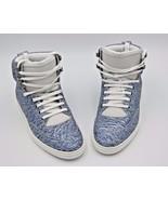 Jimmy Choo Bradley Denim Blue Crinkled Leather High Top Trainers Sneaker... - $375.00