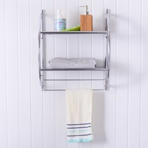 2 Tier Wall Mounted Shower Organizer Toilet Bathroom Storage Rack Shelve... - $32.62