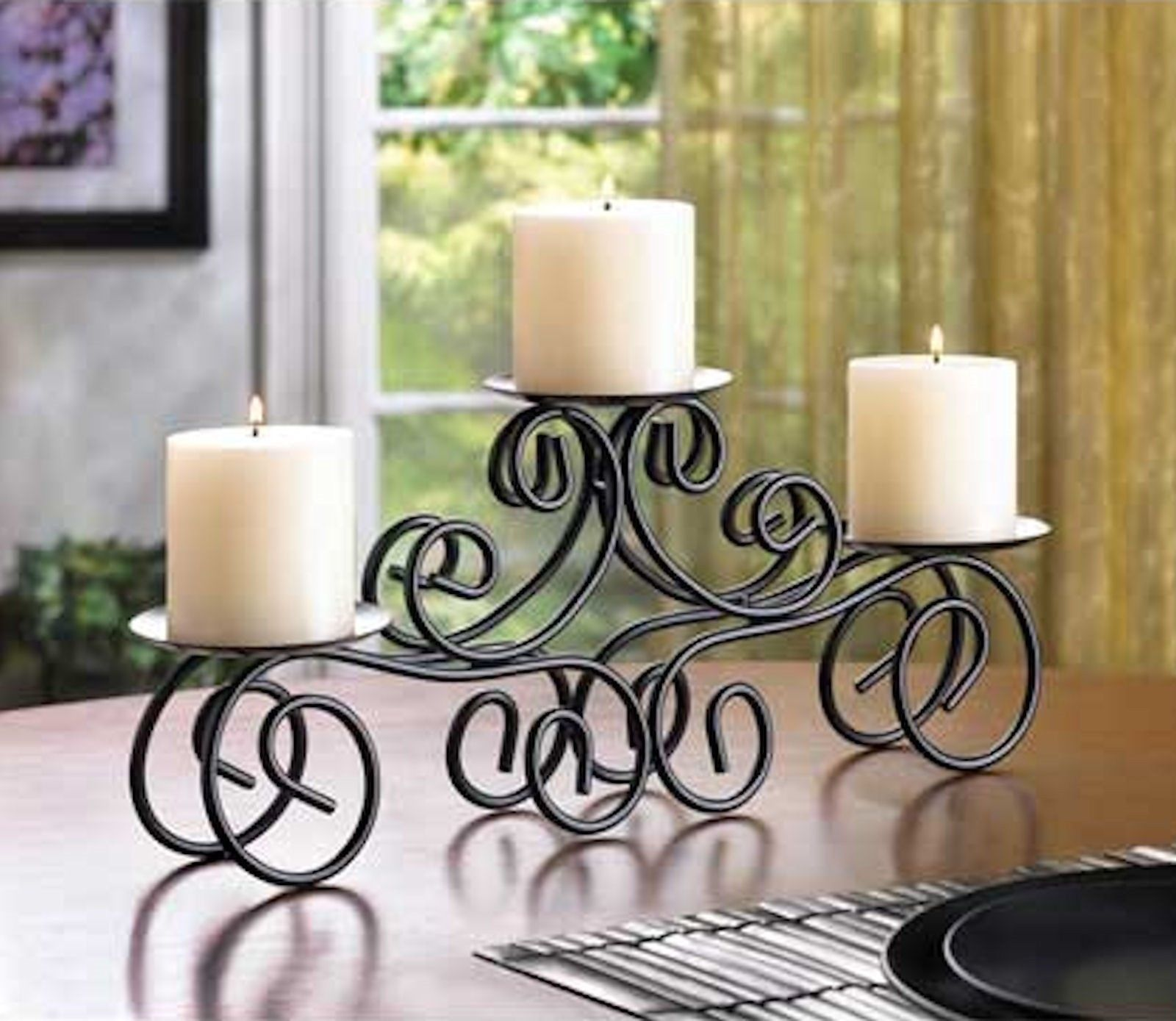 TUSCAN STYLE CANDLE HOLDER Black Wrought Iron Table ...