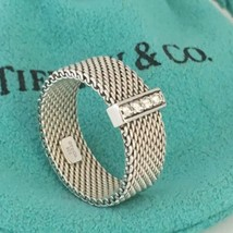 Size 8 Tiffany & Co Sterling Silver Somerset Mesh Weave 4 Diamond Ring - $449.00