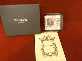 LONDON Penny STAMP FERMACARTA England Paperweight Glass Desktop MIB Ferm... - $29.99