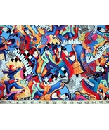 1/2 yd music/bright colorful jazz musicians/keyboards quilt fabric-free shipping - $11.99