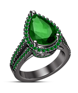 Pear Shape Green Sapphire 14k Black Gold Plated 925 Silver Ladies Wedding Ring - $86.33