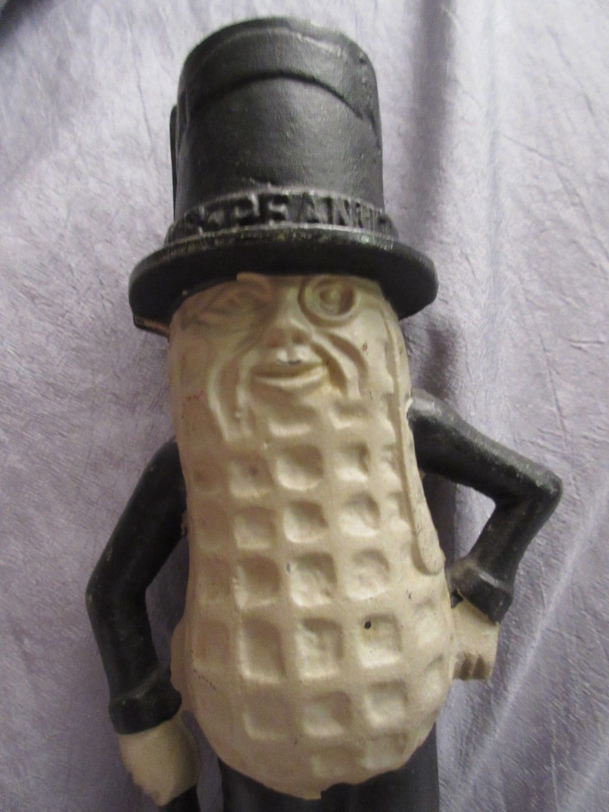 "VINTAGE MR PEANUT CAST IRON BANK - 8"" TALL - MINT CONDITION"