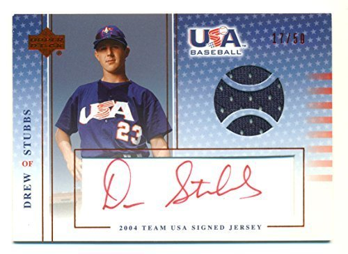 2005 Upper Deck USA Drew Stubbs USA Autographed in Red Ink and Game Used Jersey