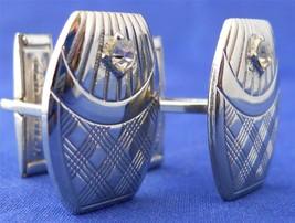 Vintage Cufflinks Silver Tone Metal Plaid Pattern Single Rhinestone - $12.86