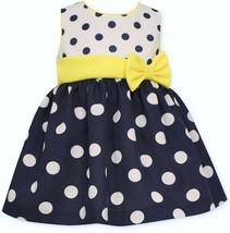 Bonnie Baby Baby Girls' Dot Poplin Party Dress, Navy, Size 3-6 M, MSRP $50 - $18.80