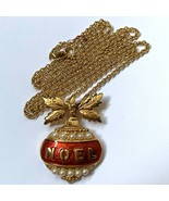 Vintage Avon Christmas Ornament Noel Pendant Necklace Faux Pearl Holiday... - $11.10