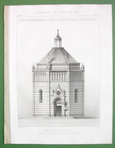 ARCHITECTURE 2 PRINTS : Italy Pistoia Baptistery of San Giovanni - $18.90