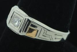 Vintage (ca. 1925) 18K White & Rose Gold Hand Engraved Diamond Ring (9 1/4+) - $395.00