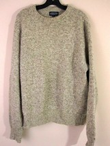 Lands End Sweater Large Beige Woven Crewneck Wool Blend Mens L - $19.27