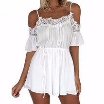 Summer Lace Flare Pleated Women Chiffon Rompers - $26.00