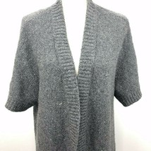 Talbots 2X Gray Wool Blend Cardigan Sequins Sparkly Open Front Short Sle... - $34.64
