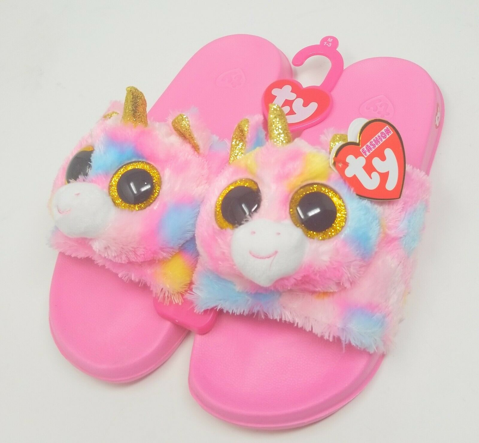 Girls Unicorn Slippers Ty Beanie Babies Shoes Fantasia Plush Slides Pink M 1-3