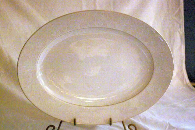 "Primary image for Rosenthal White Velvet Oval Platter 14 3/4"" Continental Line Gold Trim"