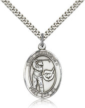 Sterling Silver St. Christopher / Golf Medal-24 Inch Necklace For Men 7506SS/24S - $57.25