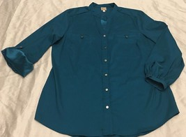JM Collection Women's Teal Button Front Long Sleeve Roll-up Top Size 18 - $24.00