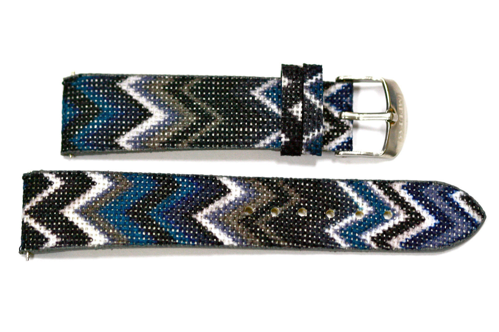 Primary image for 20mm Blue Gray ZigZag Tribal Print Watch Band Strap