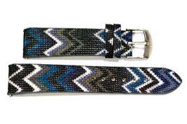 20mm Blue Gray ZigZag Tribal Print Watch Band Strap - $9.89