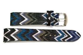 20mm Blue Gray ZigZag Tribal Print Watch Band Strap - $9.89