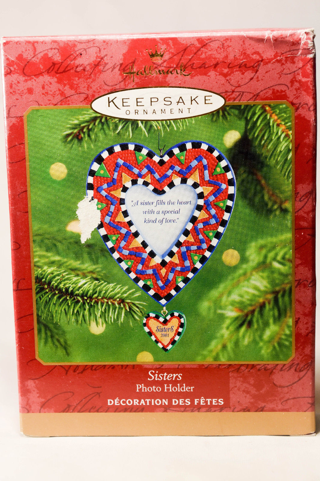 Primary image for Hallmark Sisters  Photo Holder  Heart Shaped  2001 Holiday Ornament