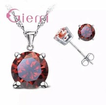 GIEMI 925 Sterling Silver Red Cubic Zircon Pendant Necklace + Earrings[P... - $11.88