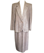 70s Christian Dior Paris Houndstooth Check Peachy Pink Grey Two Piece Sk... - $140.00