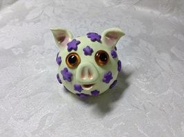 Pig Sculpture Handmade Polymer Clay Flowers Green Purple OOAK Desk Table... - $25.00