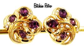 Crown Trifari Vintage Earrings Royal Purple Rhinestones Retro Style - $35.00
