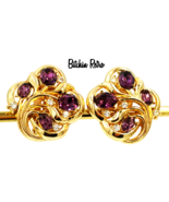 Crown Trifari Vintage Earrings Royal Purple Rhinestones Retro Style - $35.00