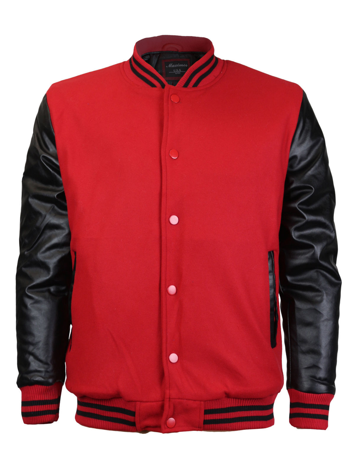 Men's Snap Button Baseball Letterman Varsity Jacket Pre-Owned Red Black size L