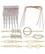 10PCS Crystal Hair Clips Rhinestone Bobby Pins Gold Hairpins Hollow Geom... - $10.15