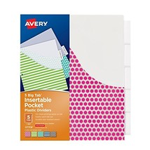 Avery Big Tab Insertable Plastic Dividers with Pockets, 5 Tabs, 1 Set, A... - $5.79