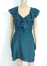 Forever 21 Navy Blue Green Heart Polka Dot Flutter Ascot Bow Tie Shirt Dress M - $10.00