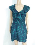Forever 21 Navy Blue Green Heart Polka Dot Flutter Ascot Bow Tie Shirt D... - $10.00
