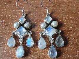 Blue Moonstone & Cultured Pearl 14-Gem 925 Sterling Silver Dangle Earrings - $29.69